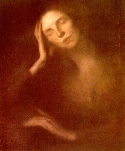 carriere Каррьер, Эжен - Женщина, облокотившаяся на стол.